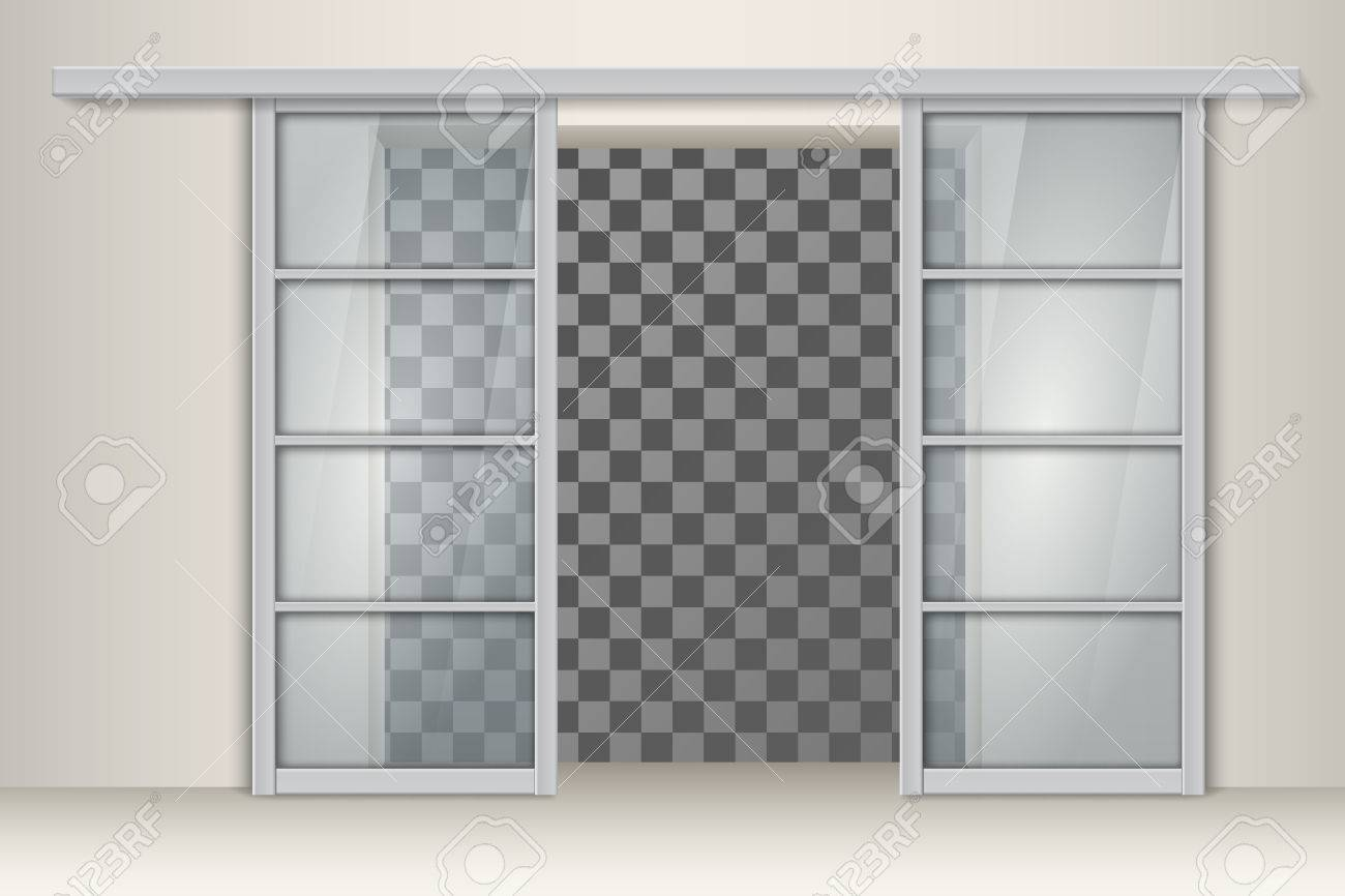 Two Sliding Aluminum Doors. Vector Element For Interior Design ...