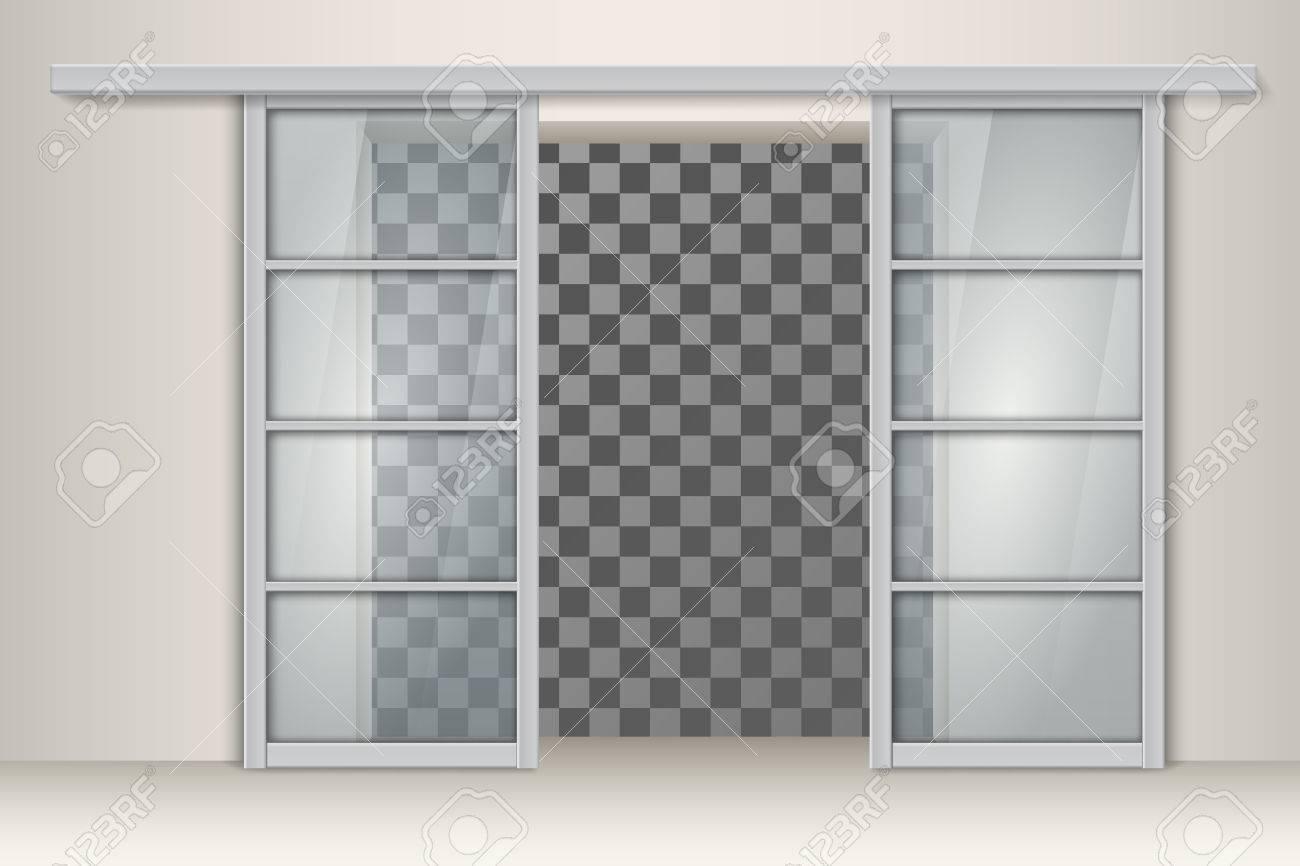 Zwei Schiebetüren Aus Aluminium. Vektor-Element Für Innenarchitektur ...