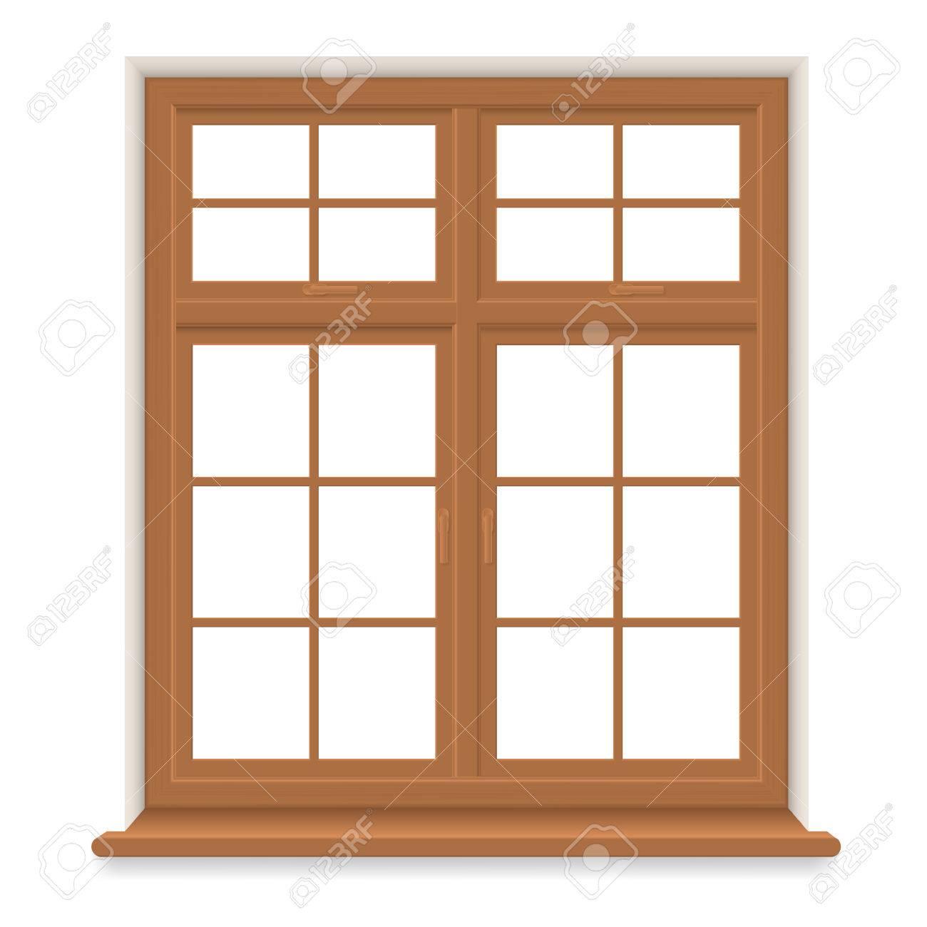 Traditionelles Hölzernes Fenster Getrennt. Geschlossenes ...