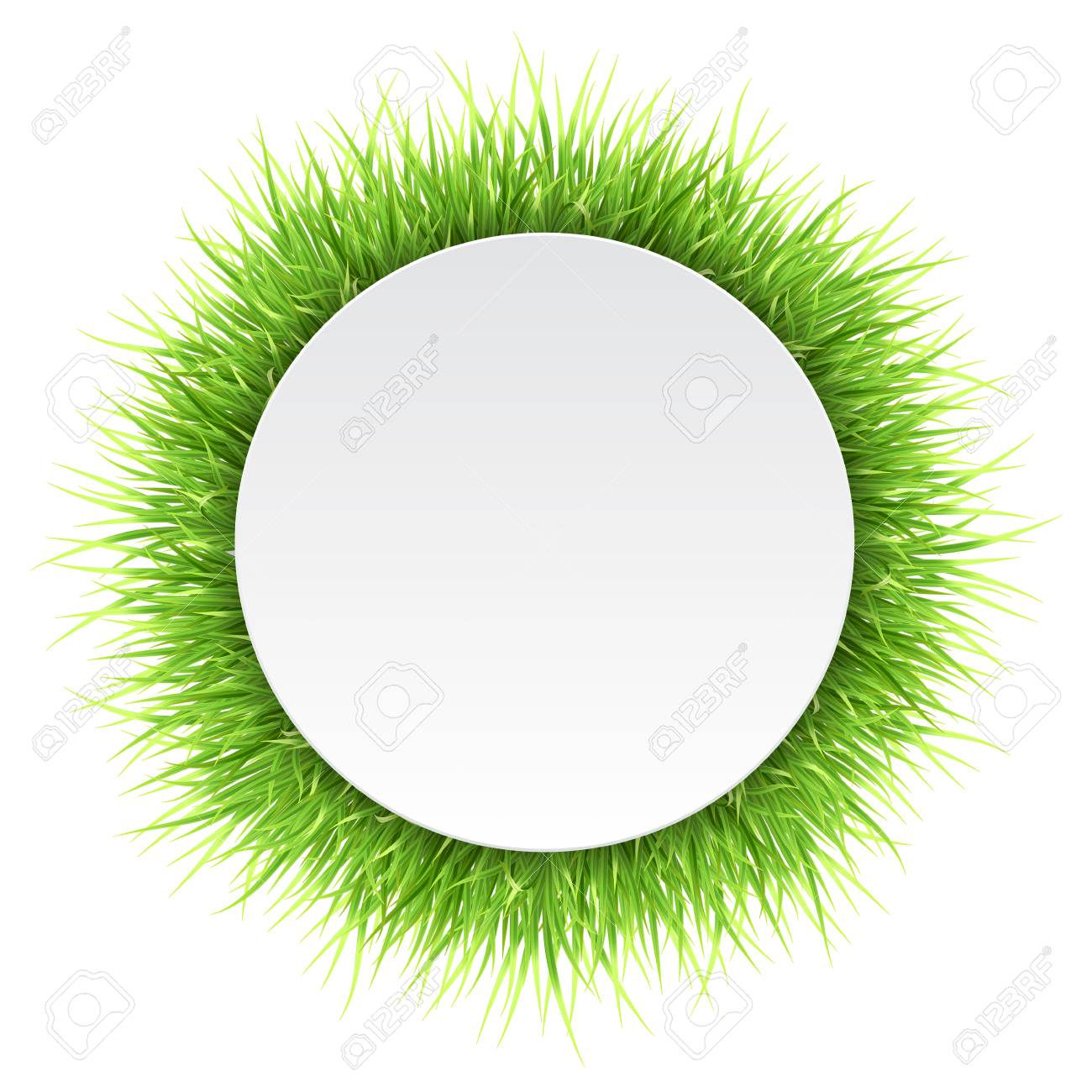 Circle Label With Green Grass Detailed Vector Natural Frame