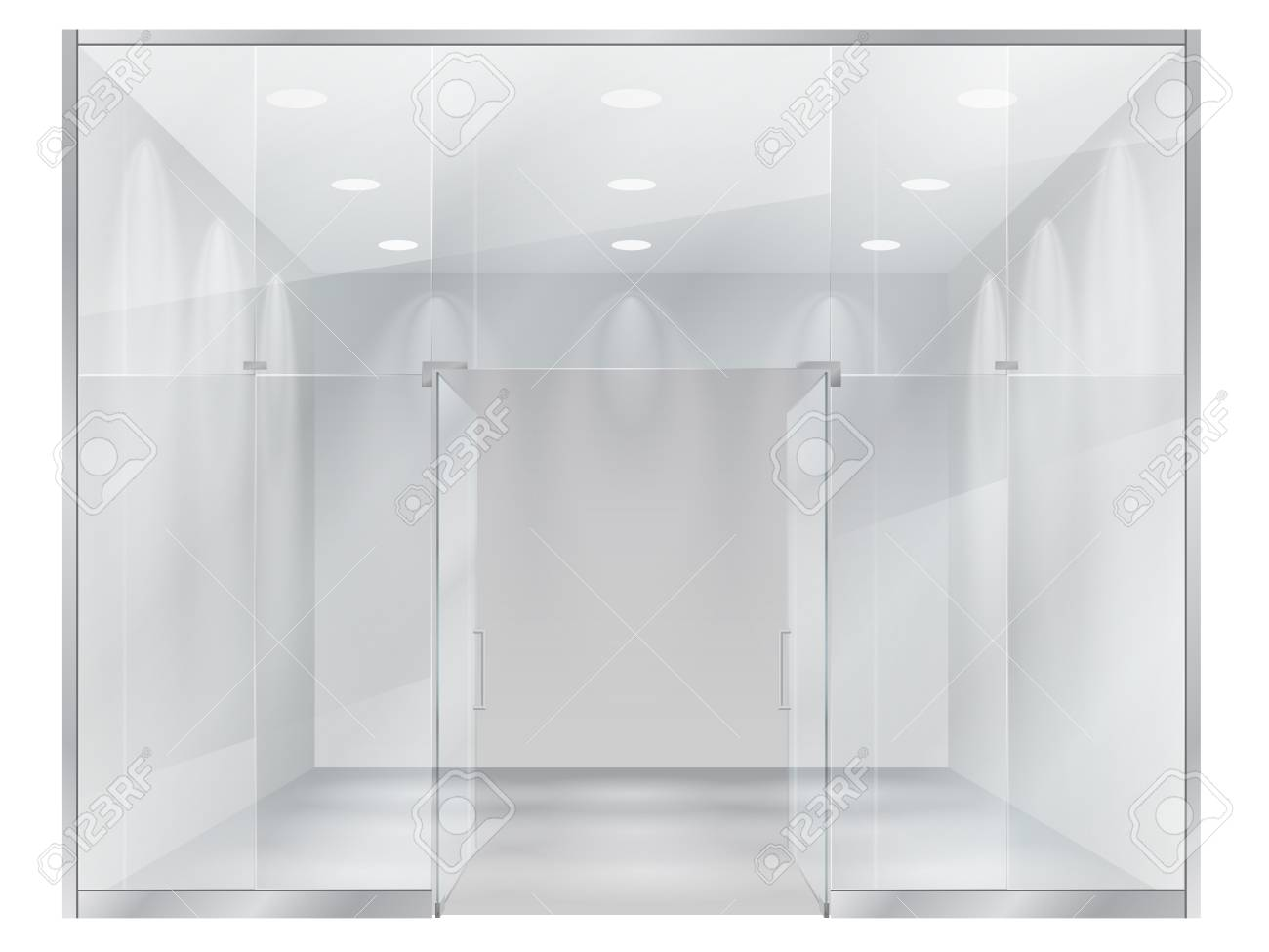 Small Exhibition Stand Vector : Glass showcase of boutique a view of the interior of a small