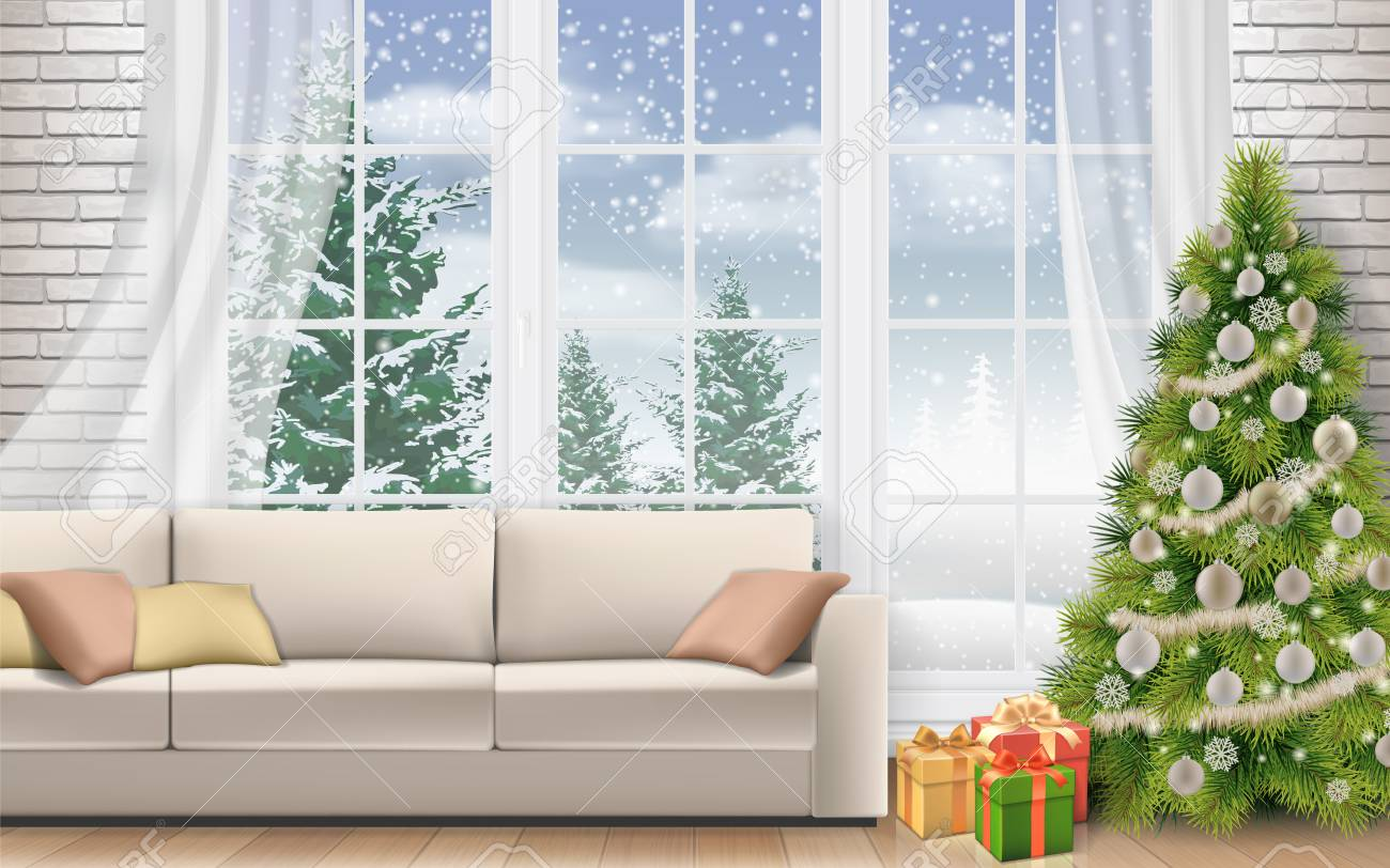 christmas interior of living room sofa on white brick wall background royalty free cliparts vectors and stock illustration image 108691820 christmas interior of living room sofa on white brick wall background