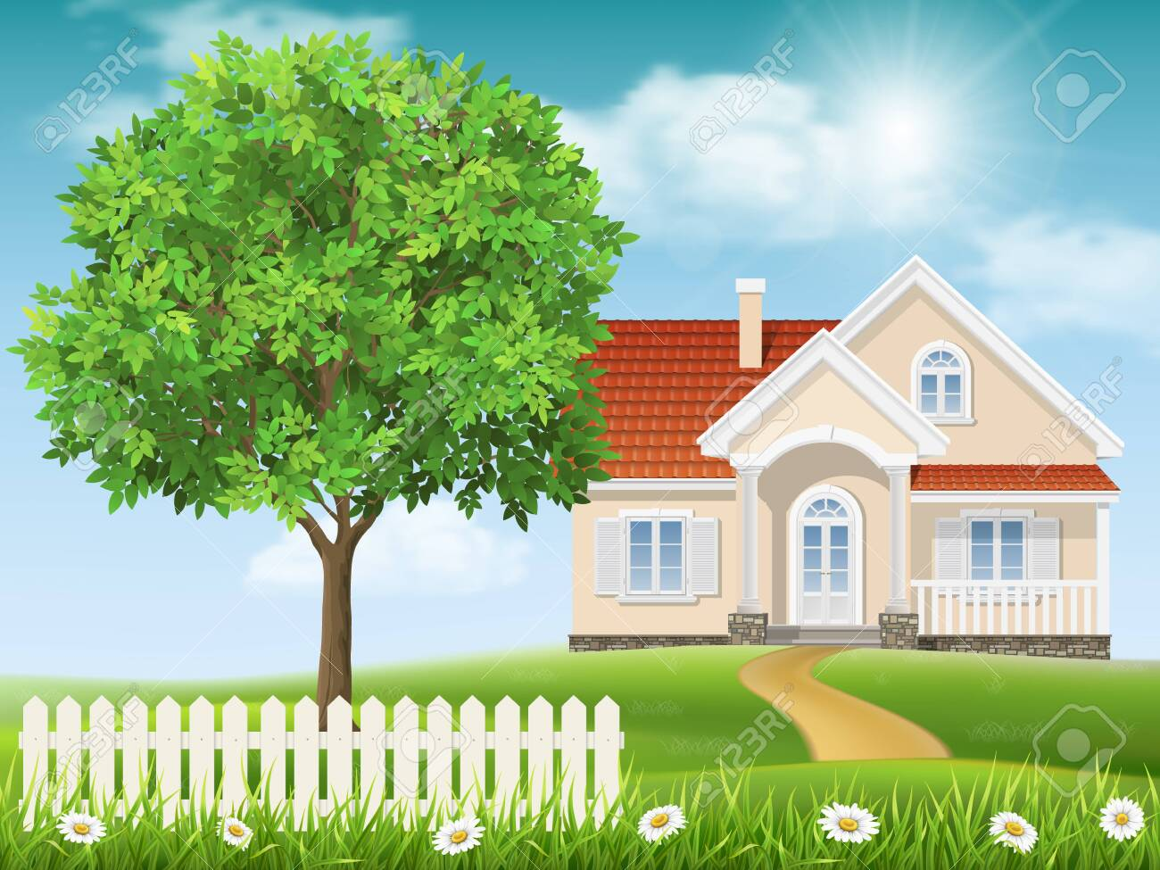 House On A Hill And Tree Spring Country Landscape Grass And Royalty Free Cliparts Vectors And Stock Illustration Image 116464468