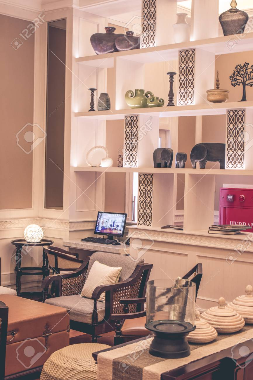 Modern interior with furniture and table bali island indonesia stock photo 82822834