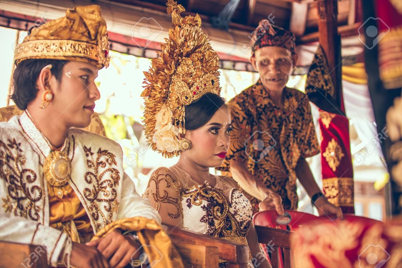 Wedding Ceremony Traditional.Bali Indonesia April 13 2018 Newlyweds On Balinese Wedding