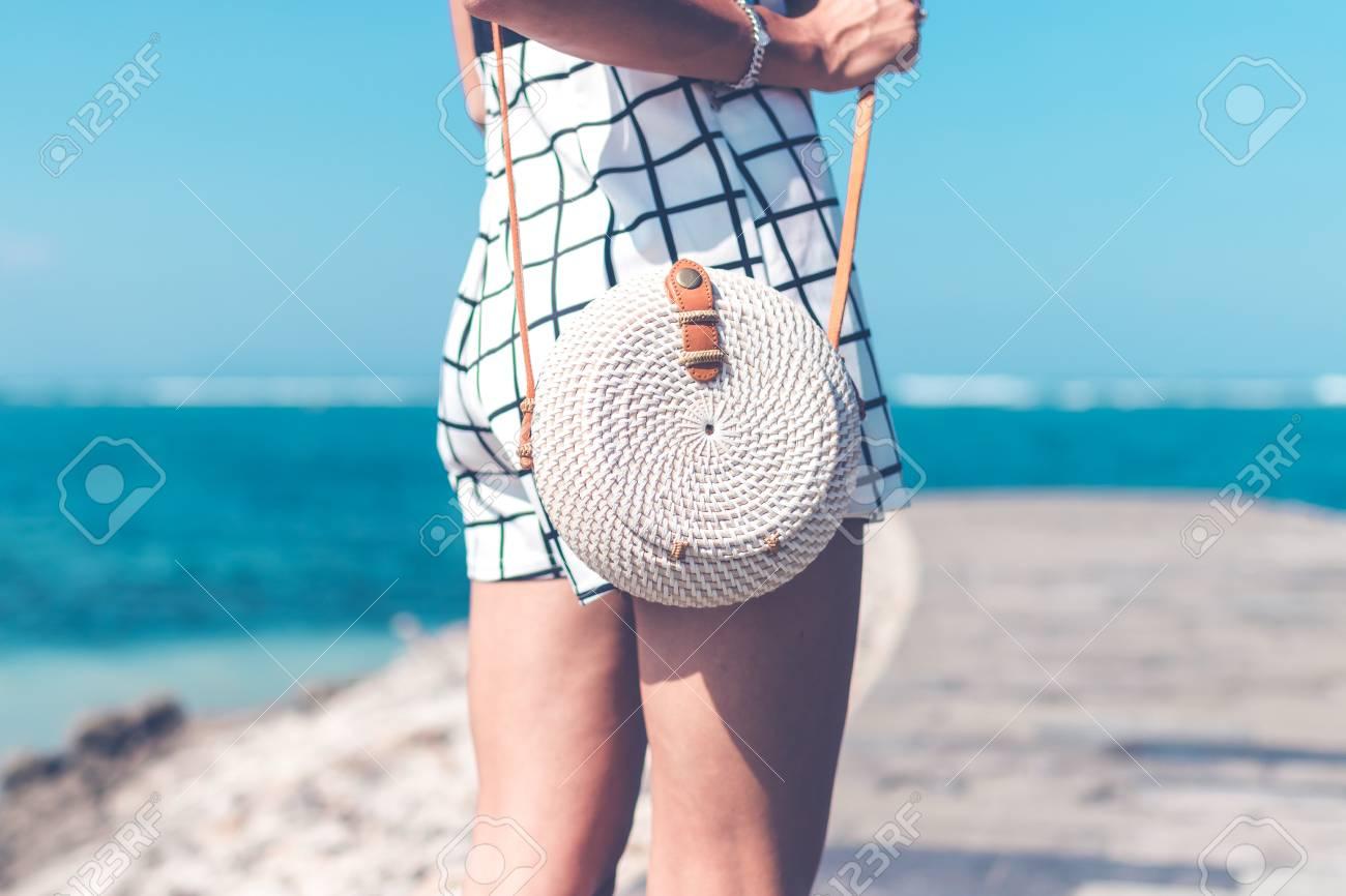 Fashionable Stylish Rattan Bag Outside Tropical Island Of Bali