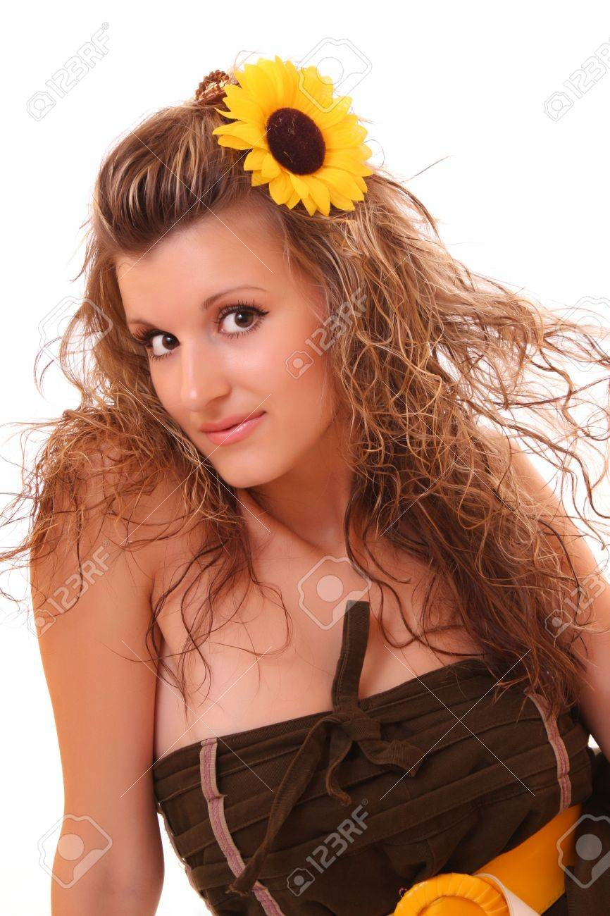 Happy woman with sunflower in hair isolated on white Stock Photo - 6271057