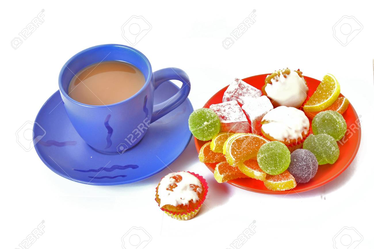 still life with coffee cup and  candied on a white Stock Photo - 6315184