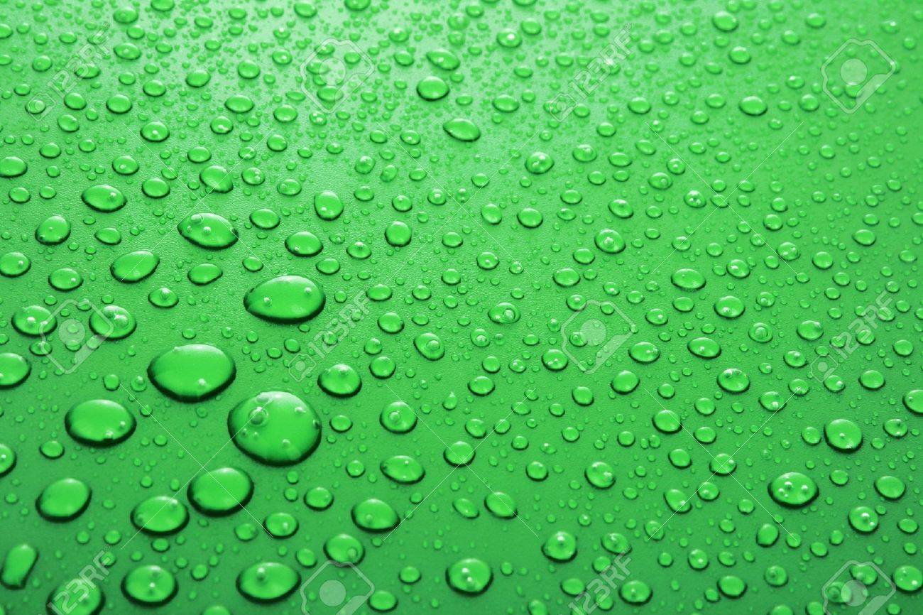 Green water drops background with big and small drops Stock Photo - 6882582