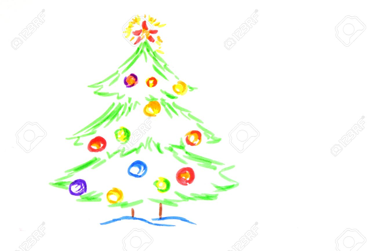 Christmas Tree Drawing By Child Stock Photo Picture And Royalty