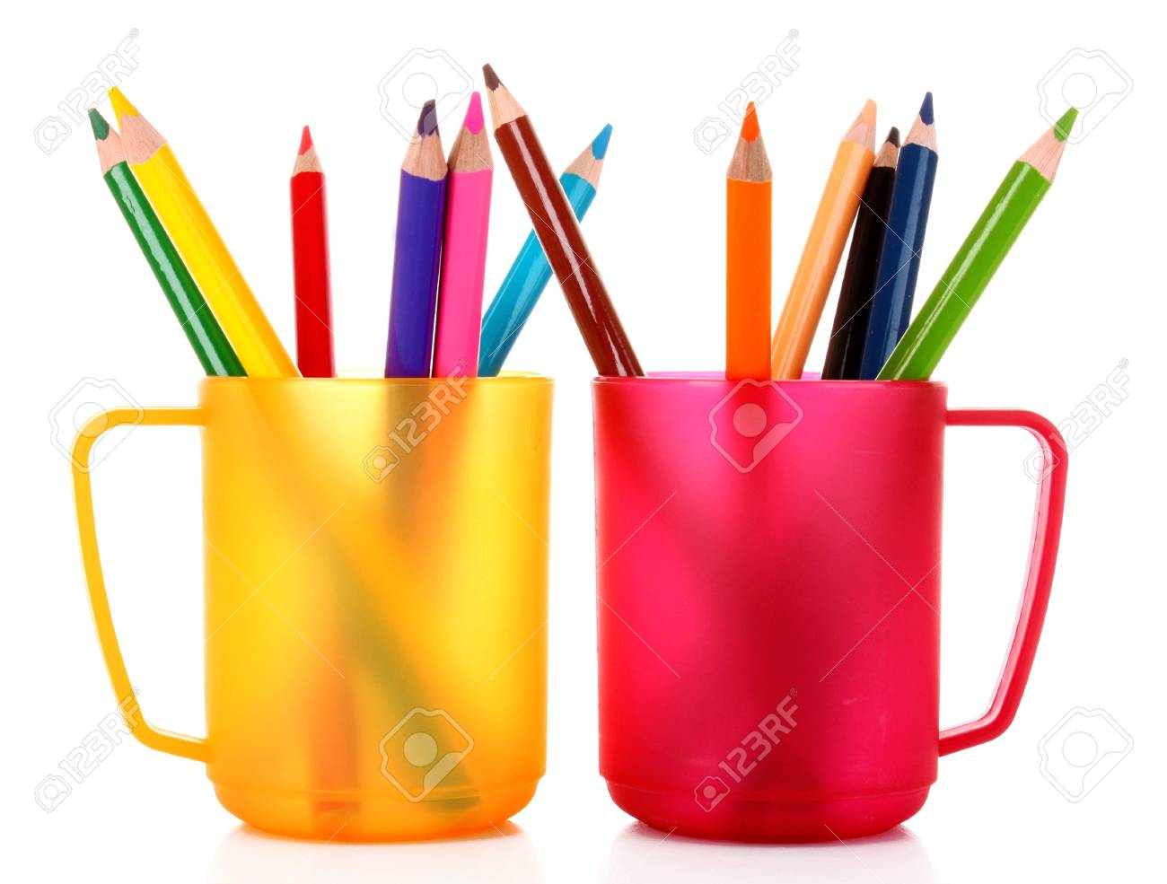 Many colorful pencils in the cup  on the white background Stock Photo - 8983198