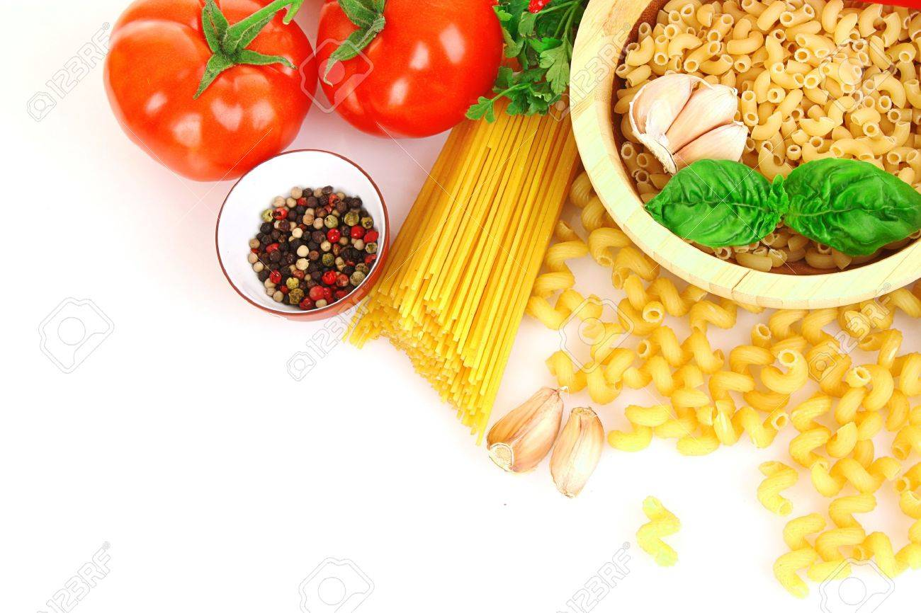 Pasta spaghetti with tomatoes, olive oil and basil on a white background Stock Photo - 9318568