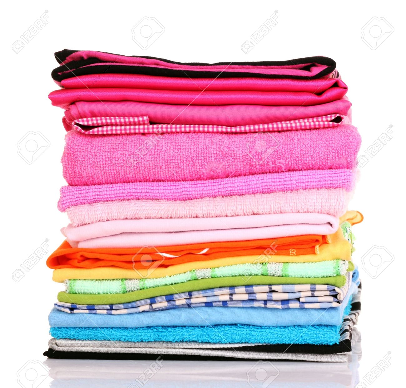 Pile of colorful clothes over white background Stock Photo - 9473592