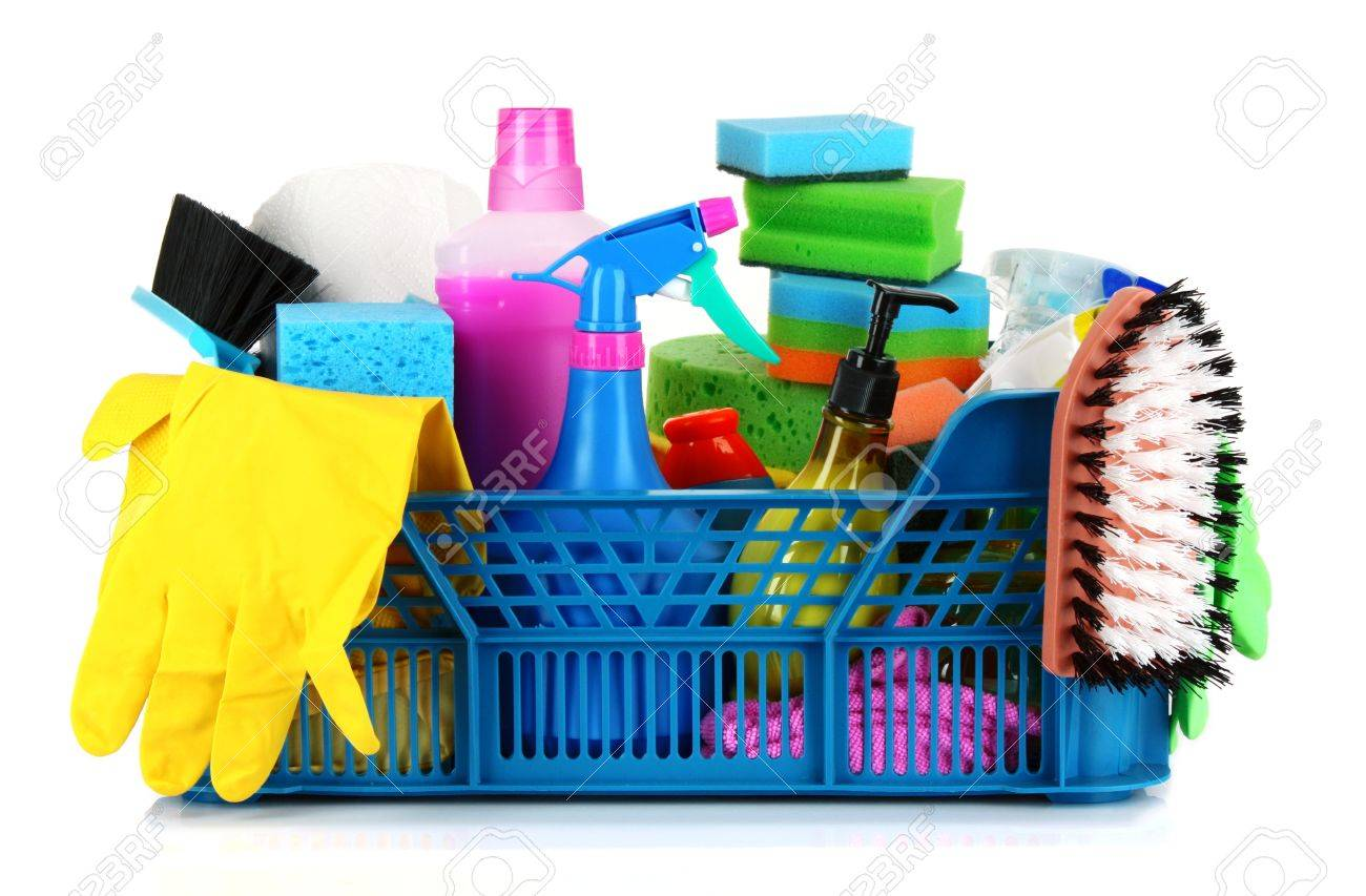 Cleaning Supplies In Basket On White Background Stock Photo, Picture And  Royalty Free Image. Image 9475994.