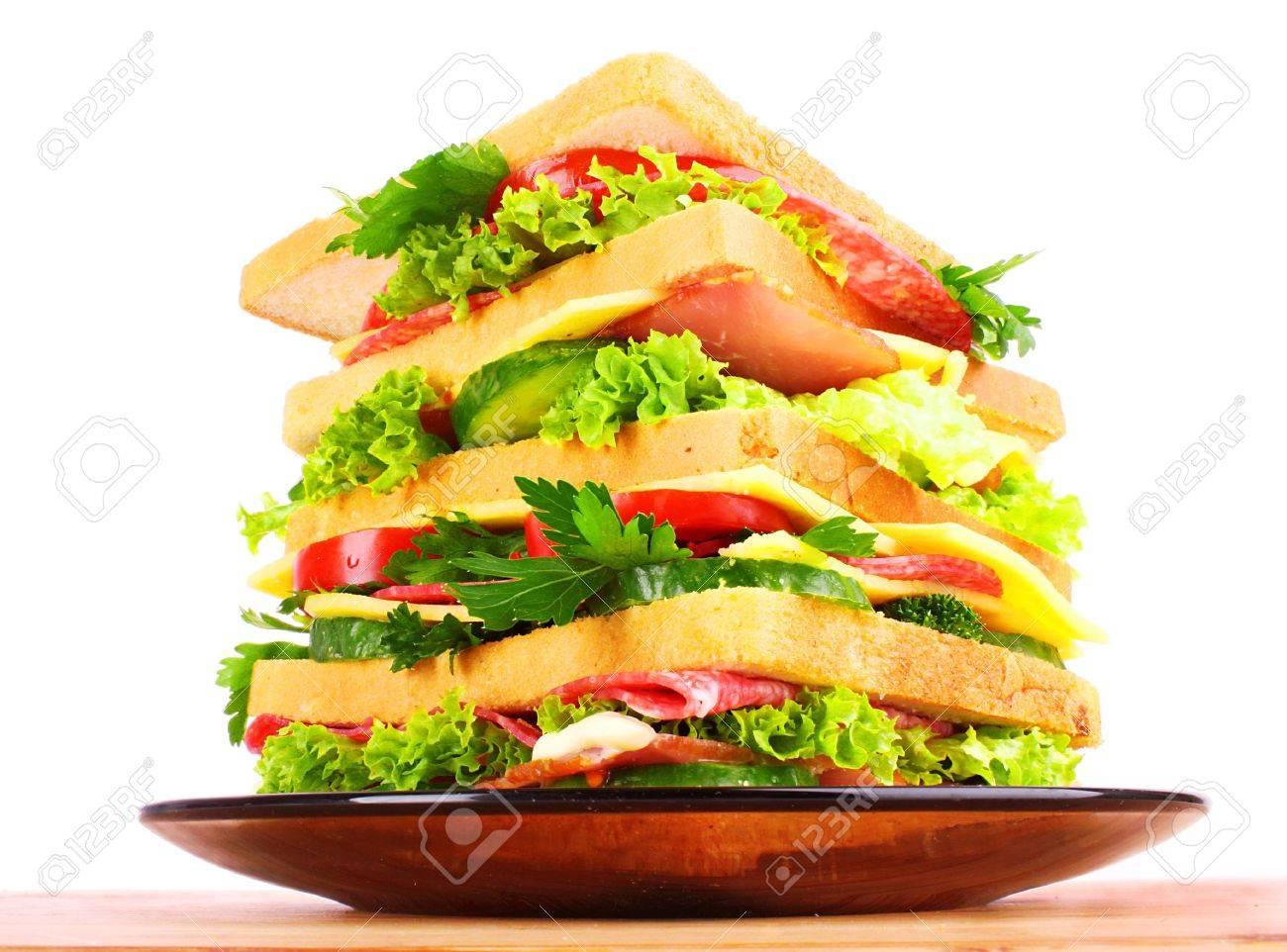 Huge sandwich on white background Stock Photo - 9774991