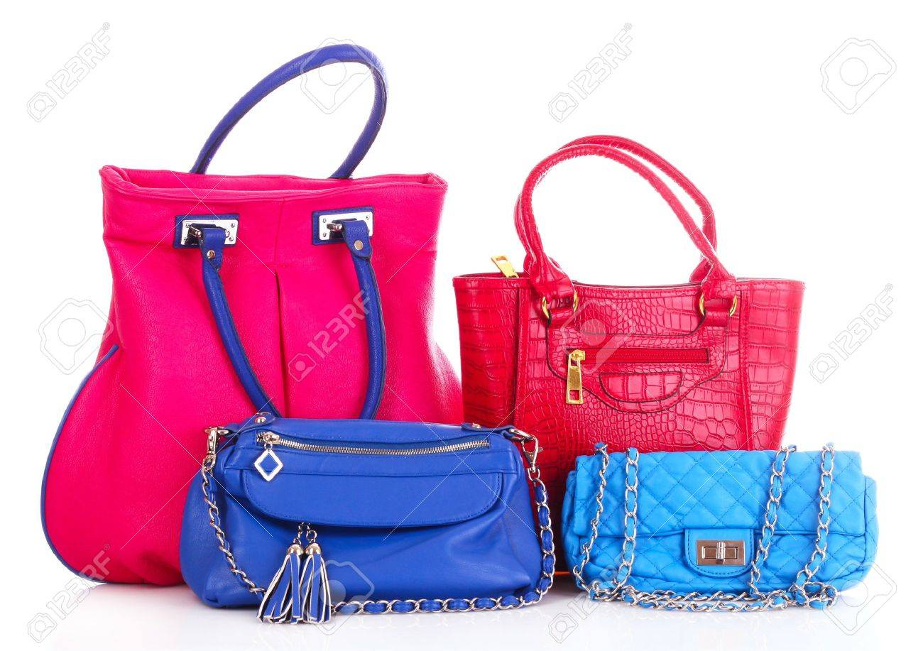 blue and red handbags isolated on white Stock Photo - 9784883