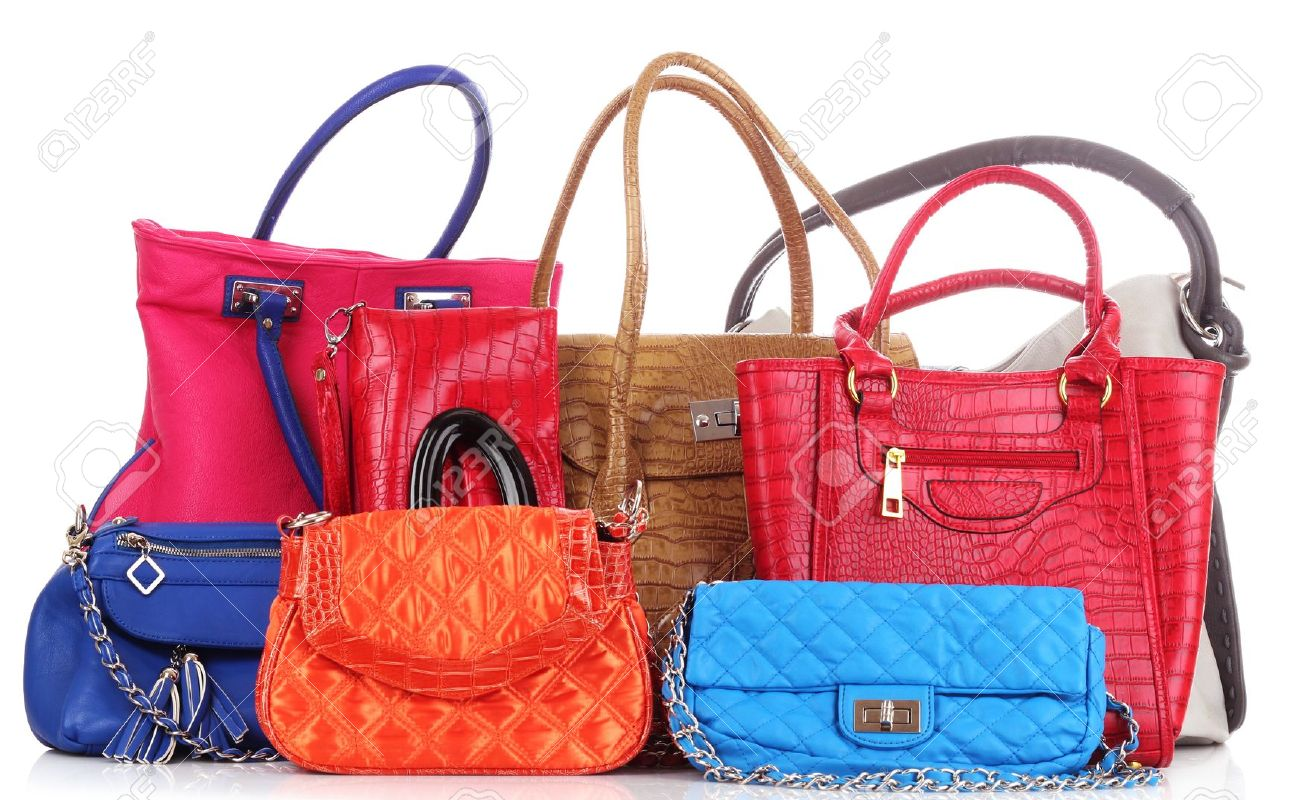 Many color women bags  on white Stock Photo - 9887534