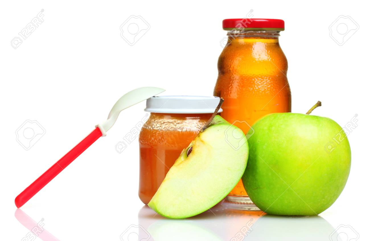 baby food, spoon and apple isolated on white Stock Photo - 9999329