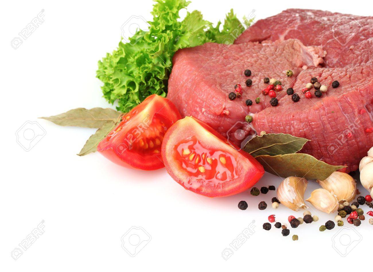 raw meat, vegetables and spices isolated on white Stock Photo - 10018732