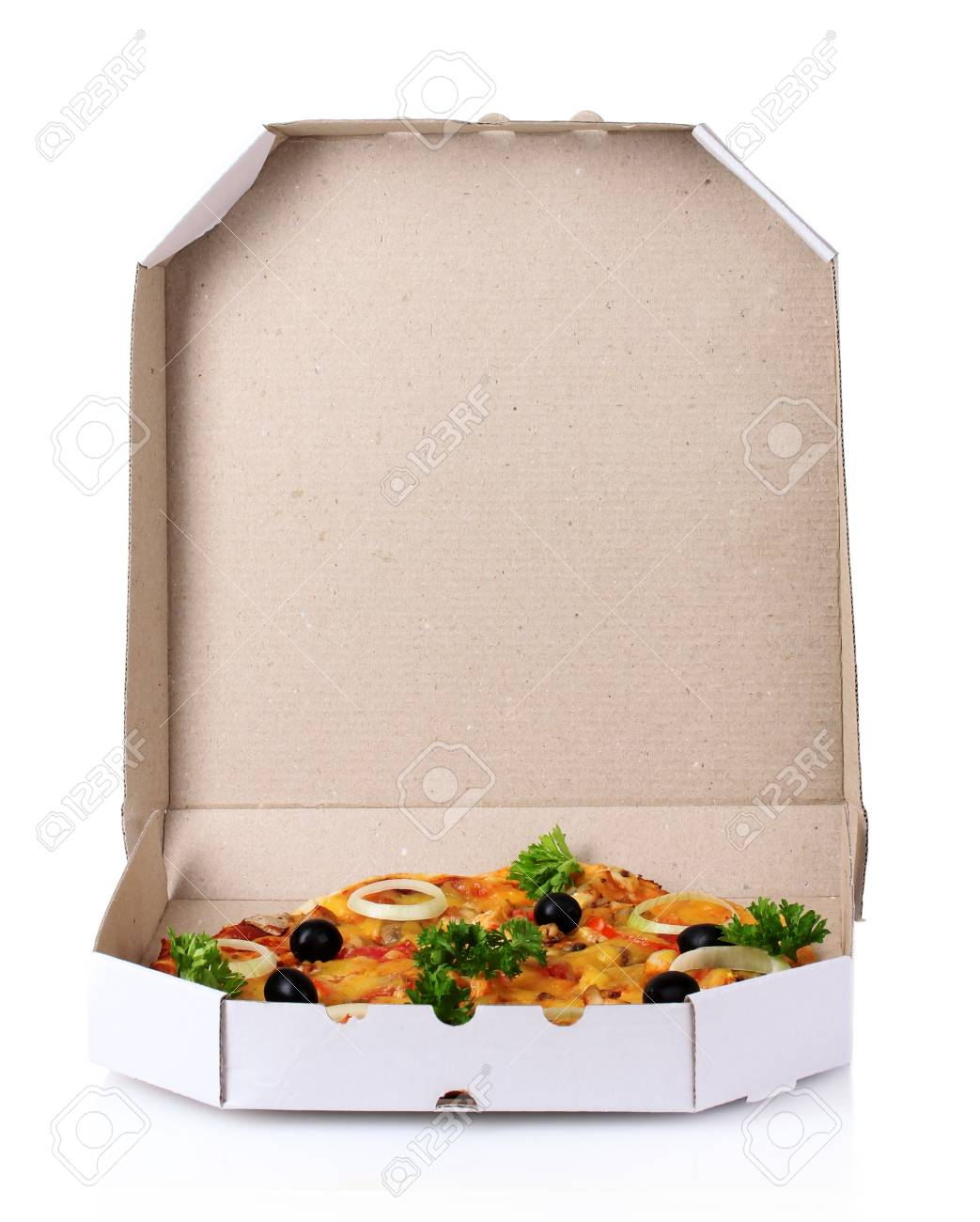 tasty pizza in package isolated on white Stock Photo - 10091062