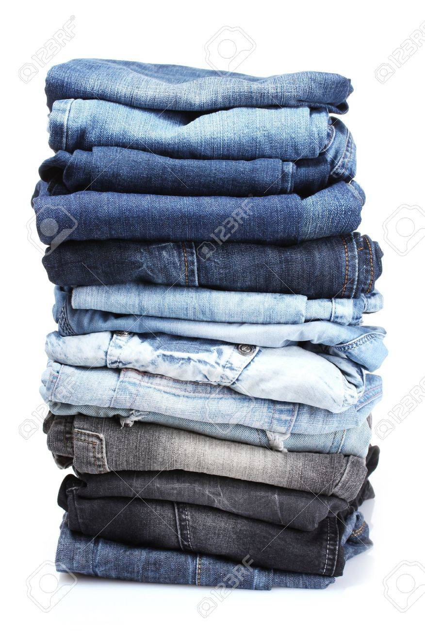 lot of blue jeans isolated on white Stock Photo - 10091081