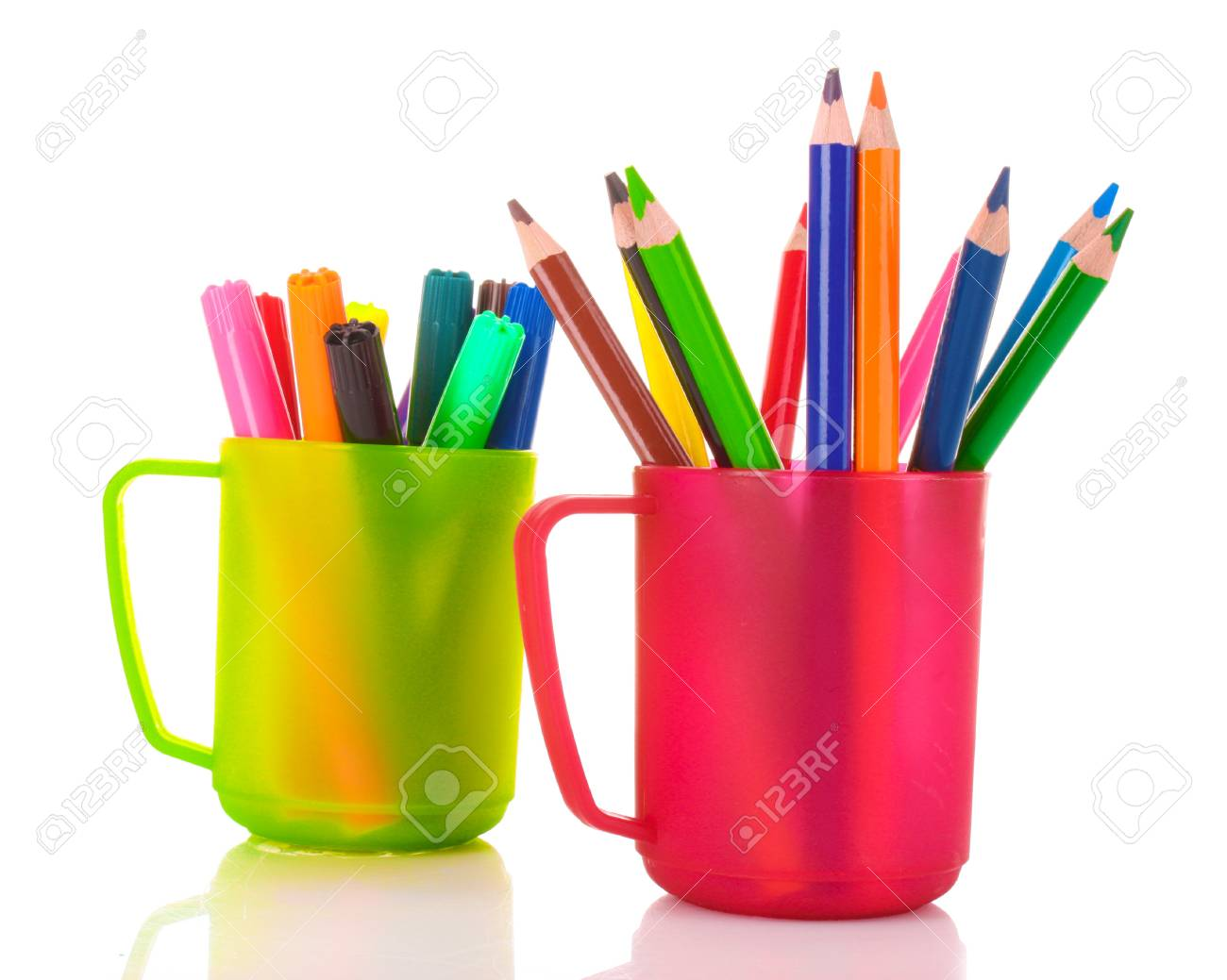 Many colorful pencils in the cup  on the white background Stock Photo - 10321005