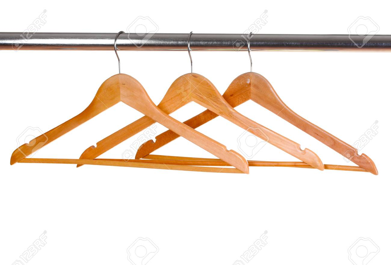 wooden clothes hangers isolated on white Stock Photo - 10437877