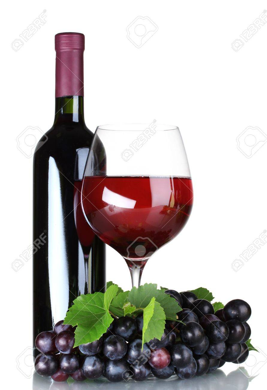Ripe grapes, wine glass and bottle of wine isolated on white Stock Photo - 10437882