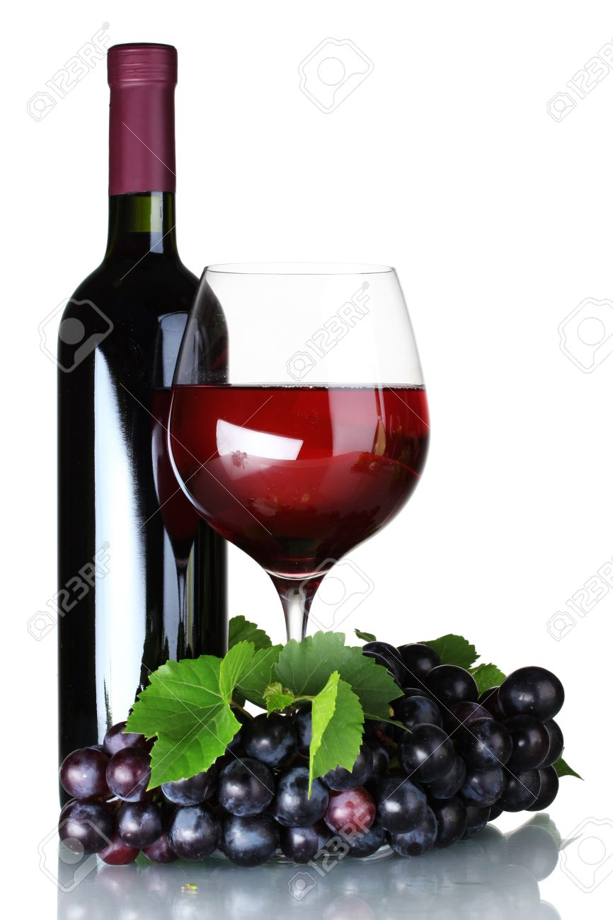 Ripe grapes, wine glass and bottle of wine isolated on white Stock Photo - 10437912