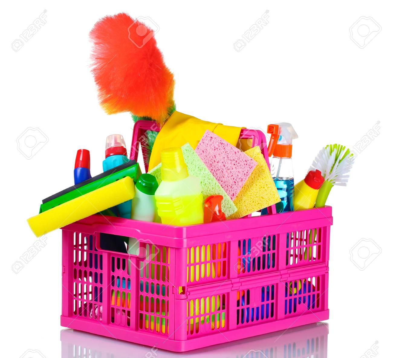 full box of cleaning supplies isolated on white Stock Photo - 10460809