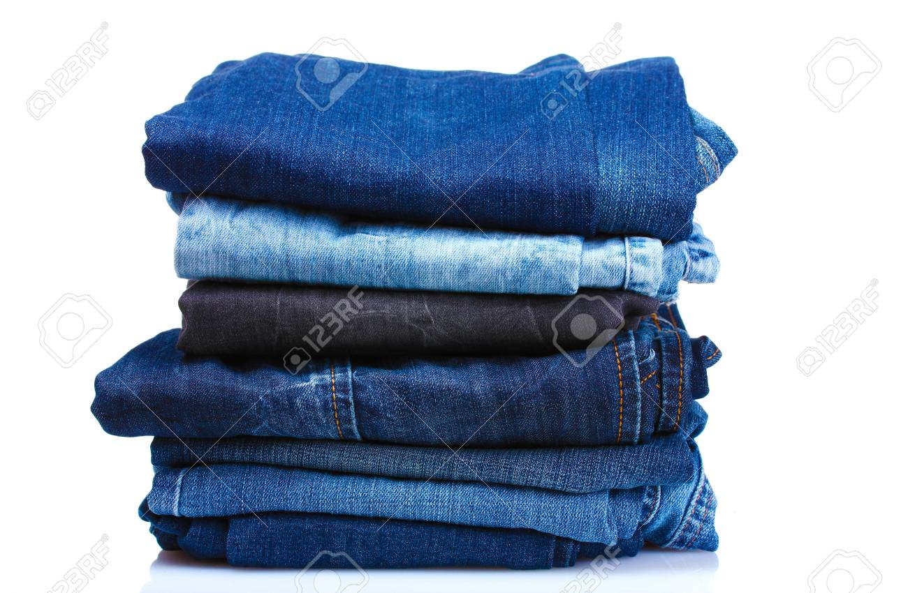lot of blue jeans isolated on white Stock Photo - 10534659
