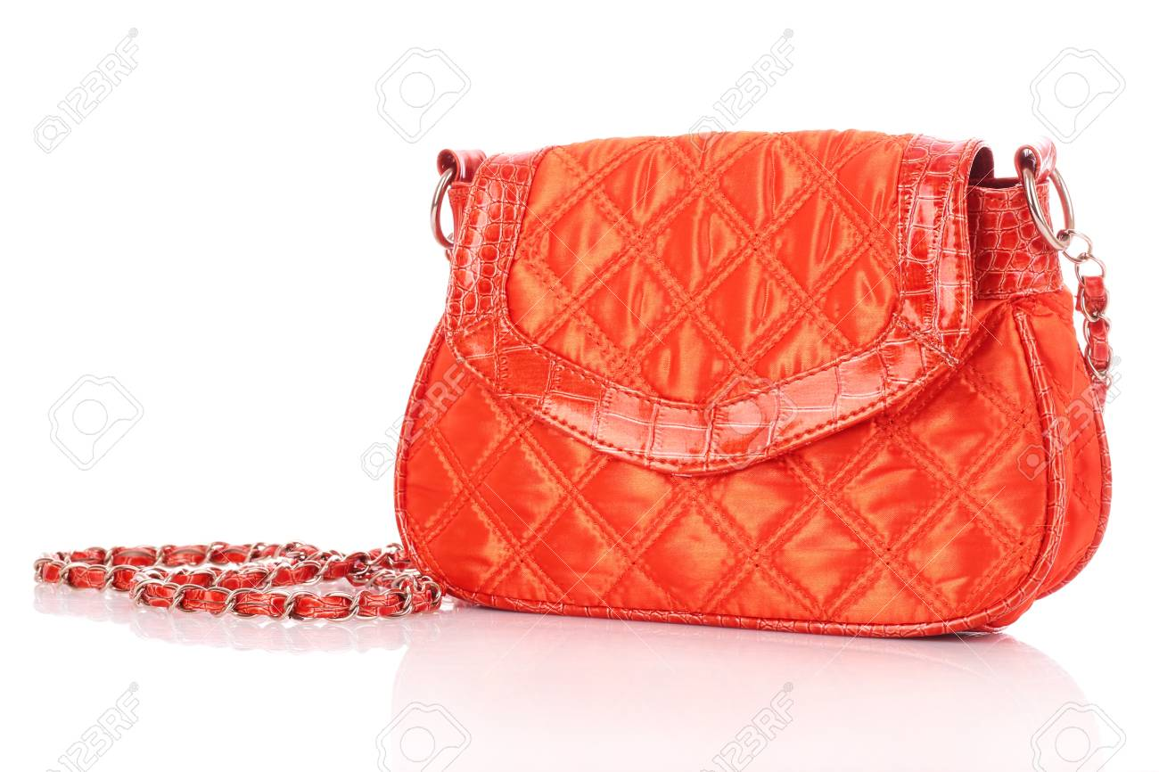 68ab39fc9556e Red women bag isolated on white background Stock Photo - 10560095