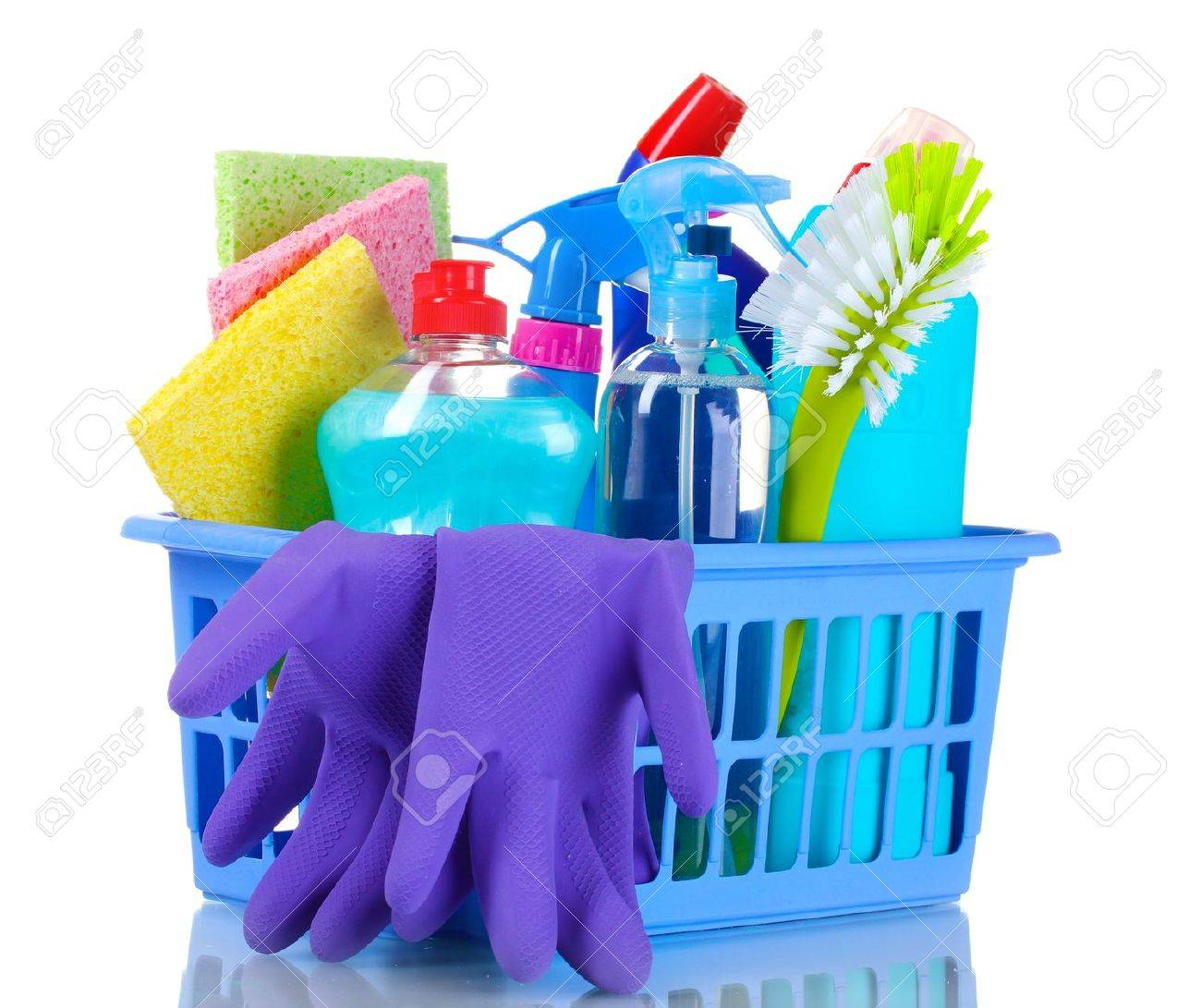 full box of cleaning supplies and gloves isolated on white Stock Photo - 10574050