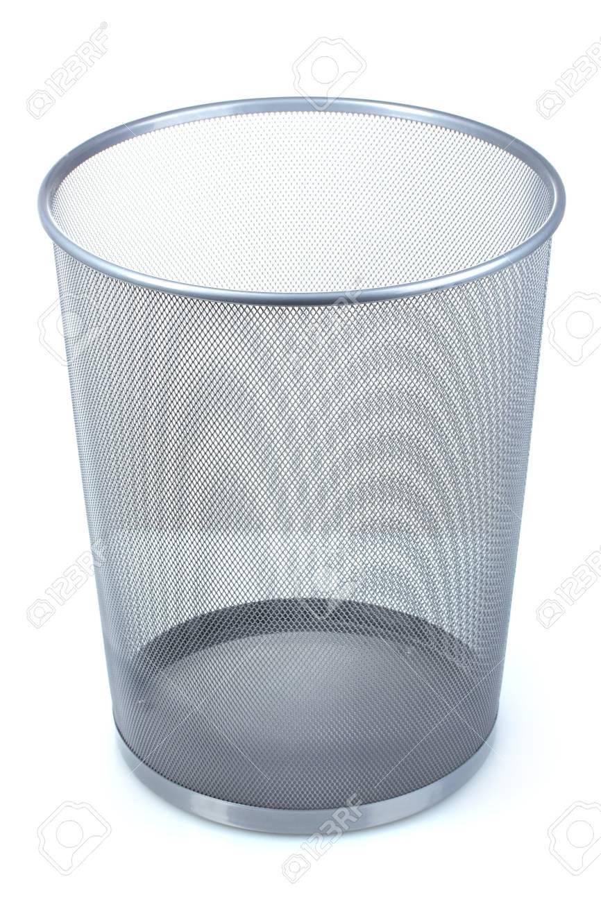 Empty iron trash bin isolated on white Stock Photo - 10758679