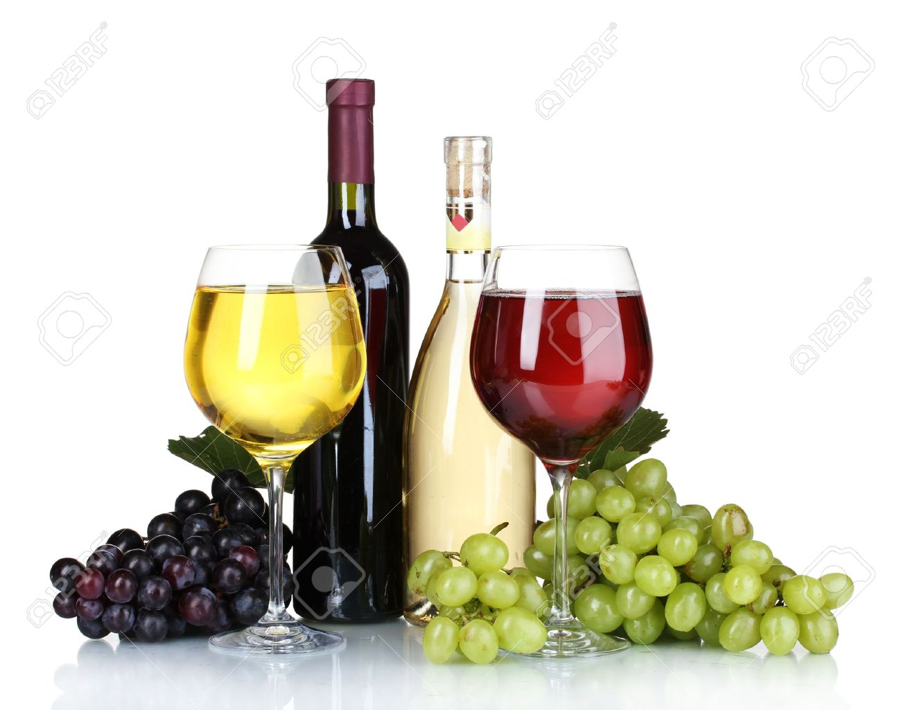 Ripe Grapes Wine Glasses And Bottles Of Wine Isolated On White