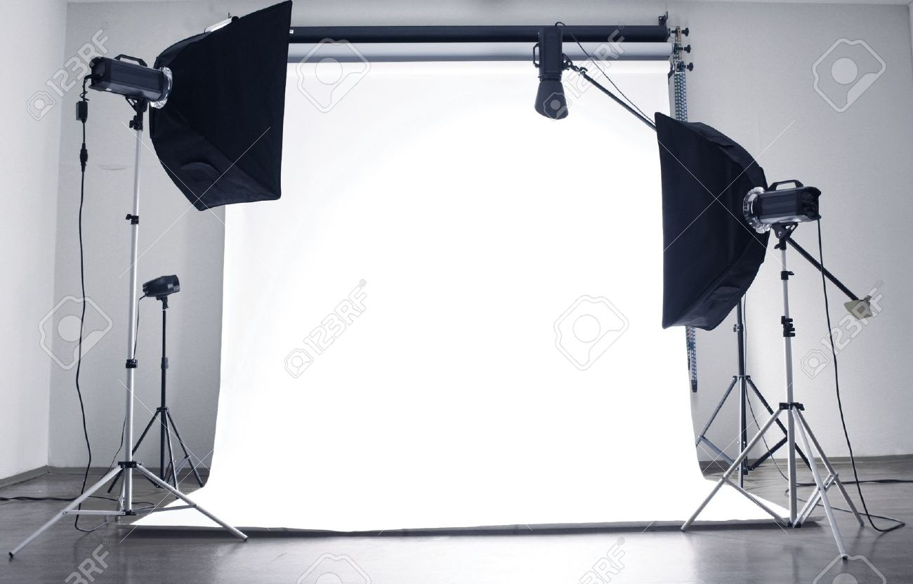 Empty Photo Studio With Lighting Equipment Stock Photo, Picture ...