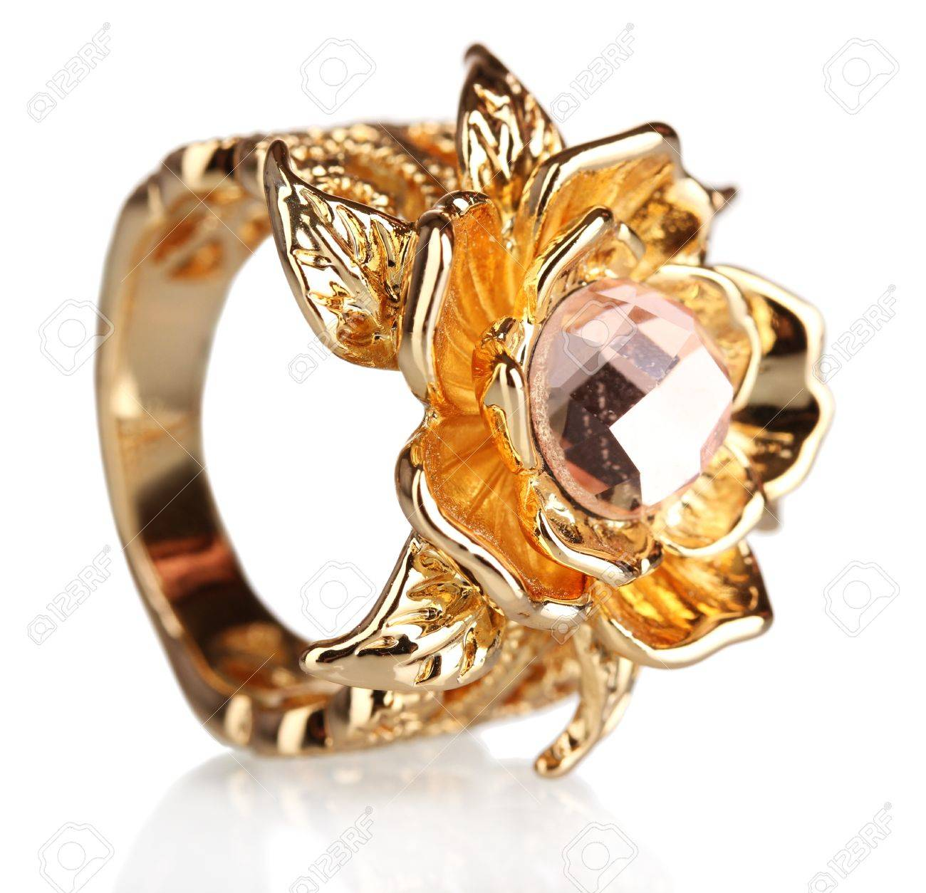 Beautiful Gold Ring With Precious Stone Isolated On White Stock ...