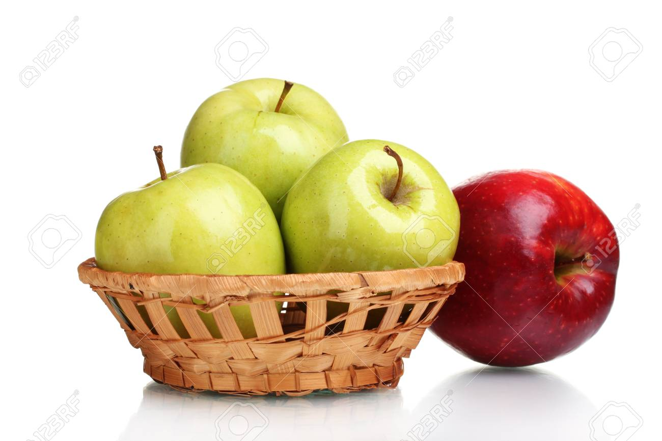 green and red apples in basket. juicy green apples in basket and red apple isolated on white stock photo - 11123237 e