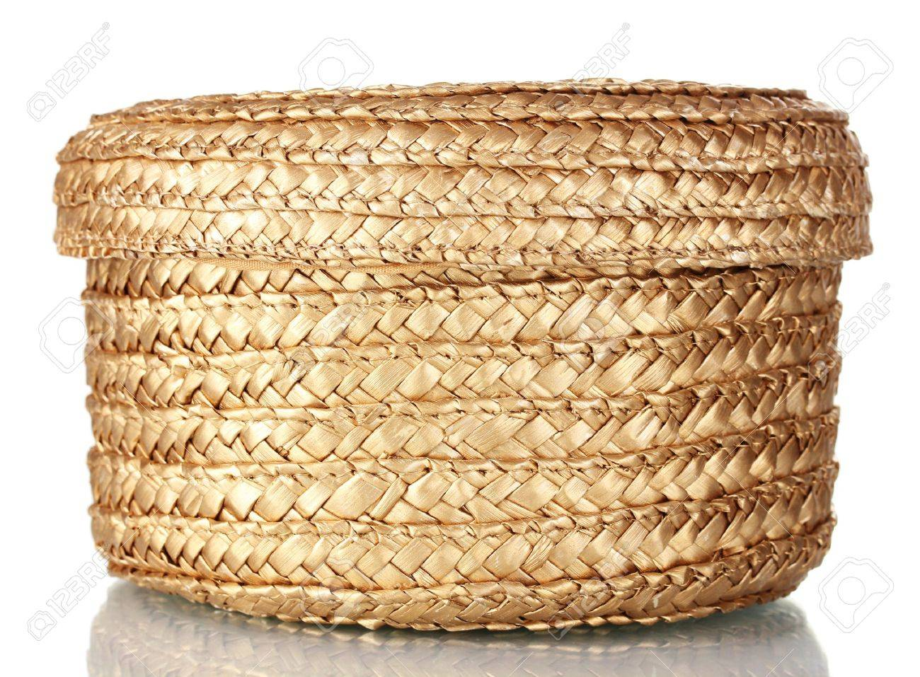 Stock Photo - decorative empty wicker basket with lid isolated on white