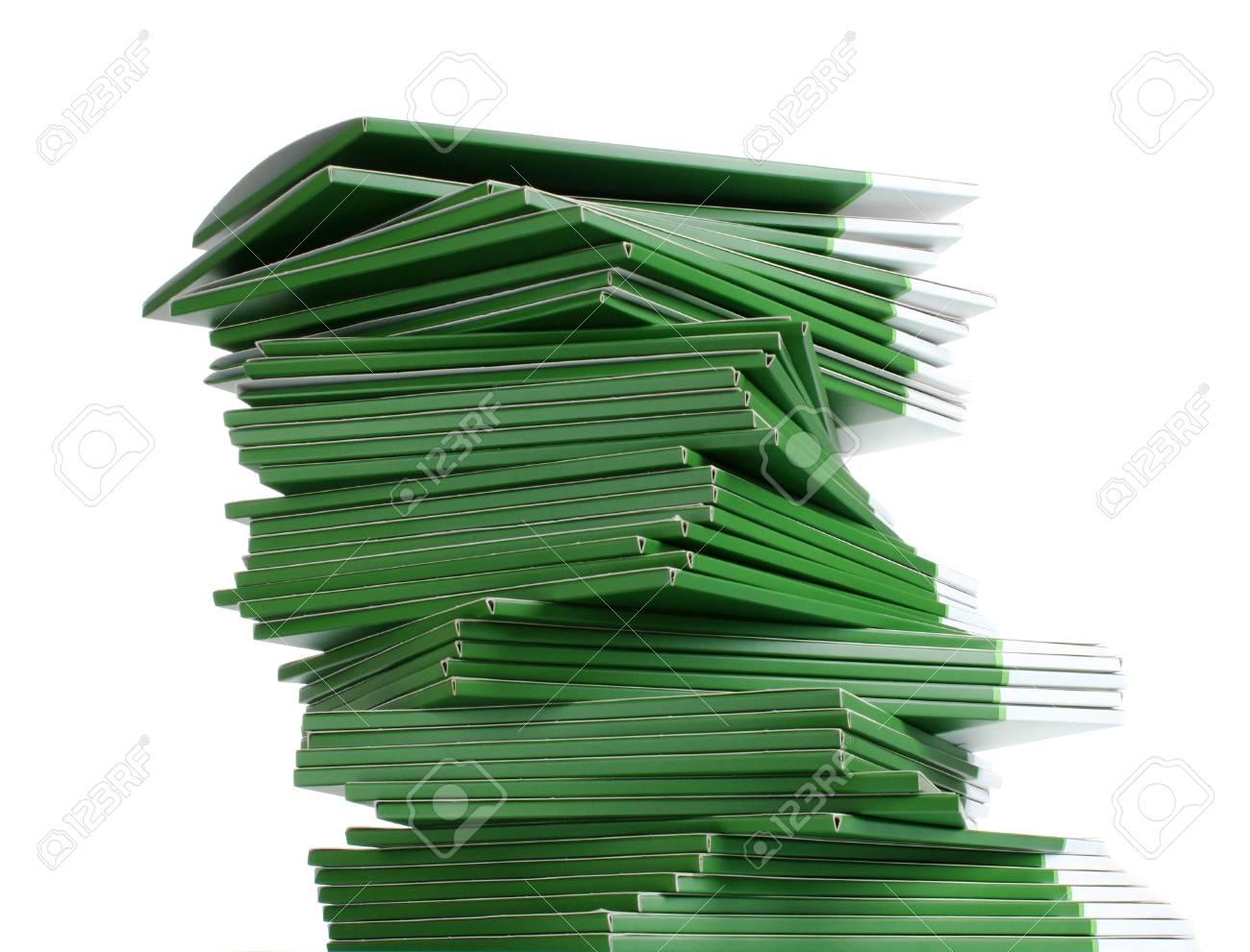 Many green folders isolated on white Stock Photo - 11337970