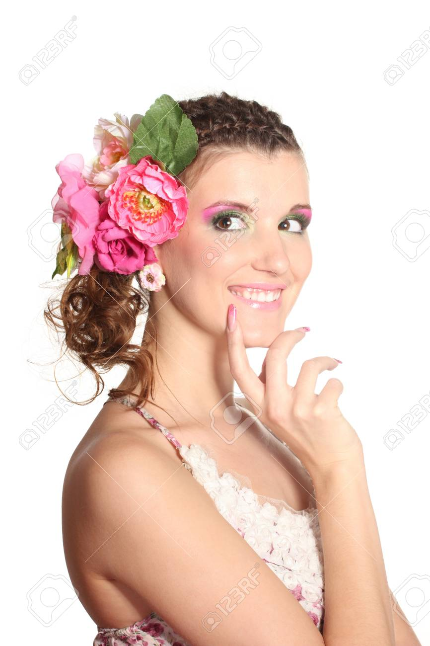 Beautiful girl with flowers in her hair isolated on white Stock Photo - 11493991