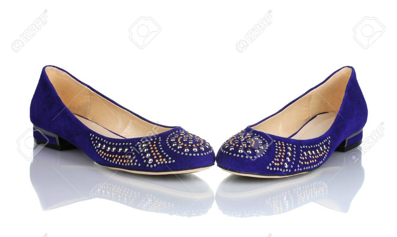 Elegant Blue Flat Shoes For Women In Stones Isolated On White Stock Flatshoes Photo 11637534
