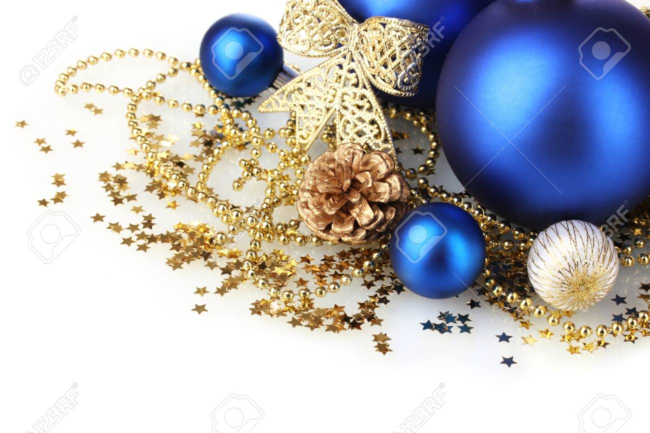 beautiful blue Christmas balls and cone isolated on white Stock Photo - 11634368