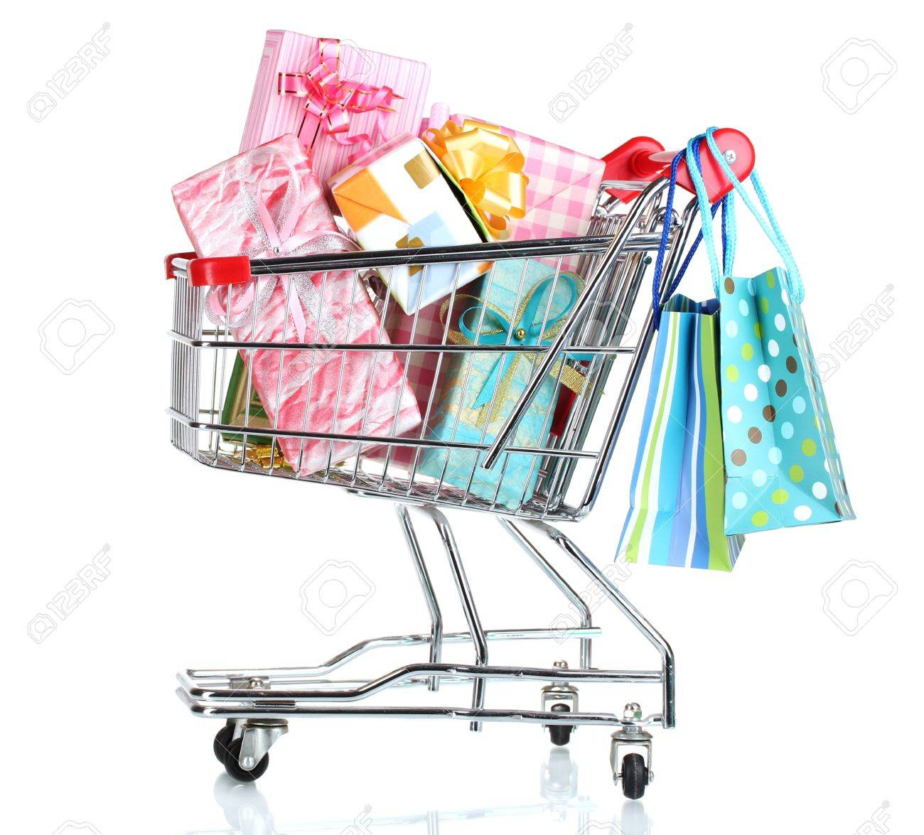 shopping cart with bright gifts and paper bags isolated on white Stock Photo - 11668680