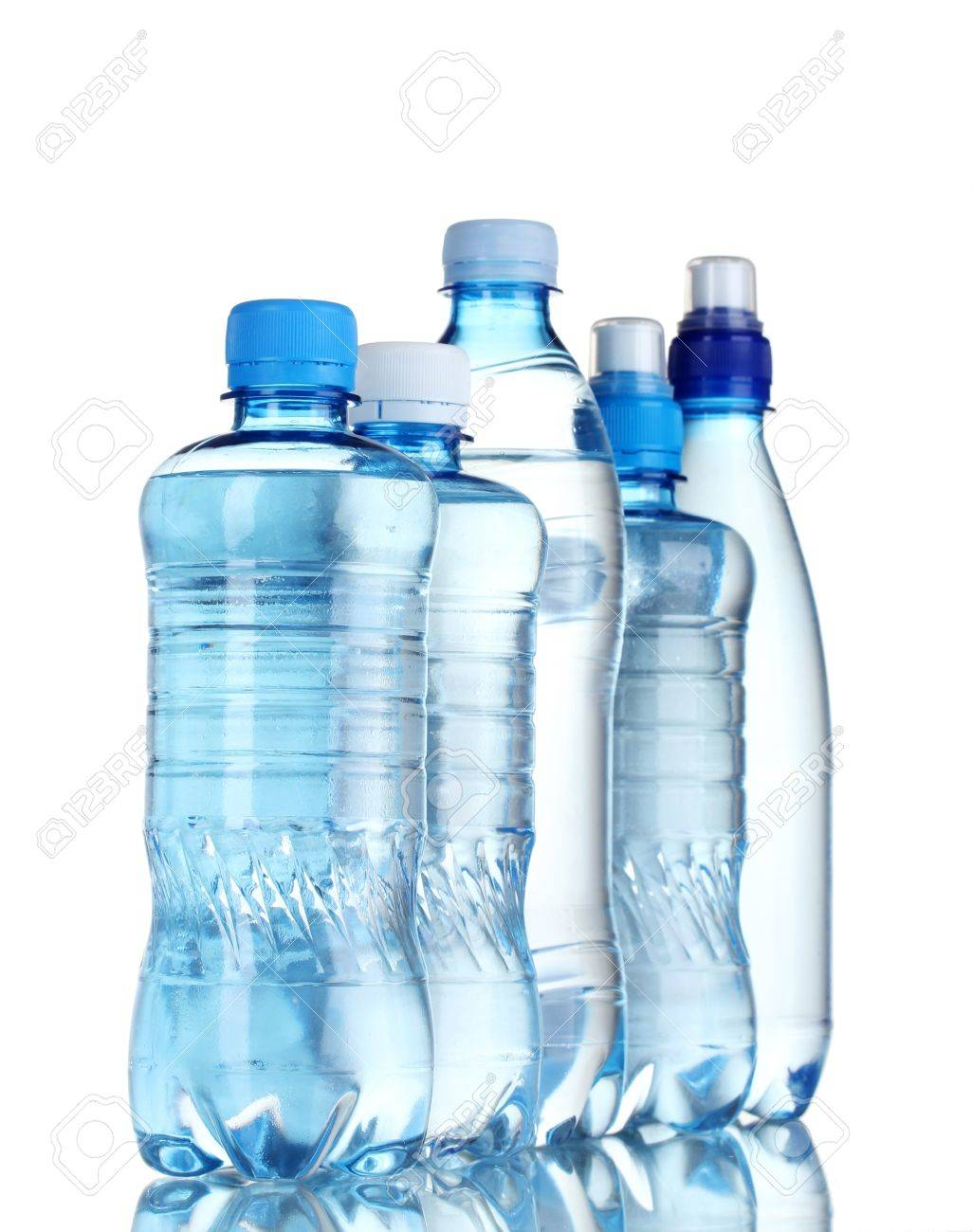 Group plastic bottles of water isolated on white Stock Photo - 11757739