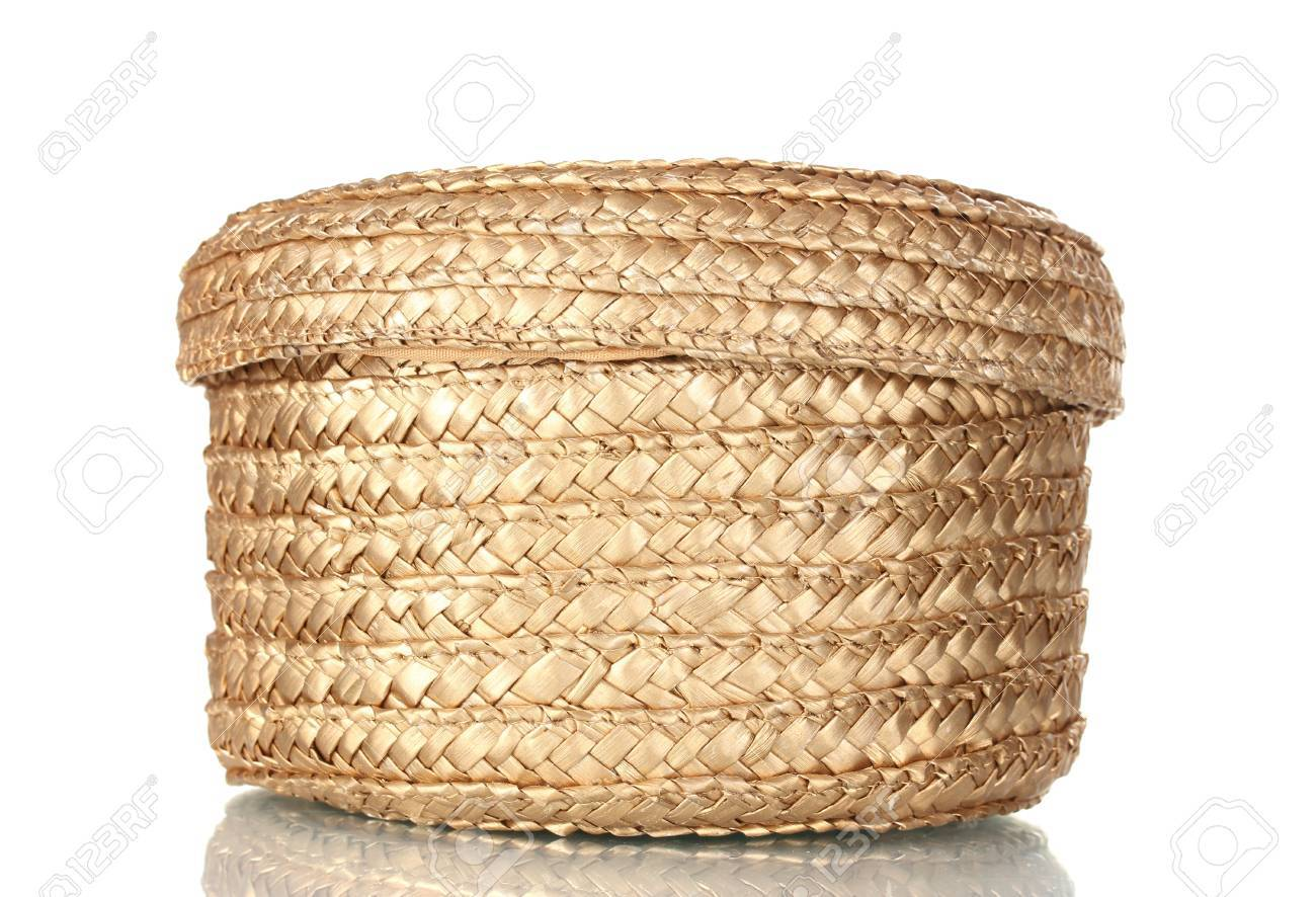 Decorative Empty Wicker Basket With Lid Isolated On White Stock ...