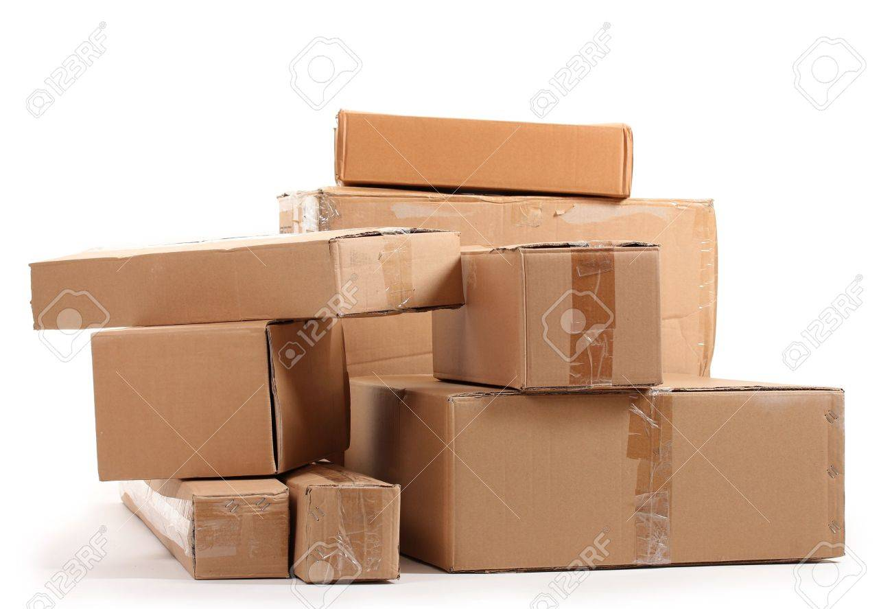 Brown cardboard boxes isolated on white Stock Photo - 12144482