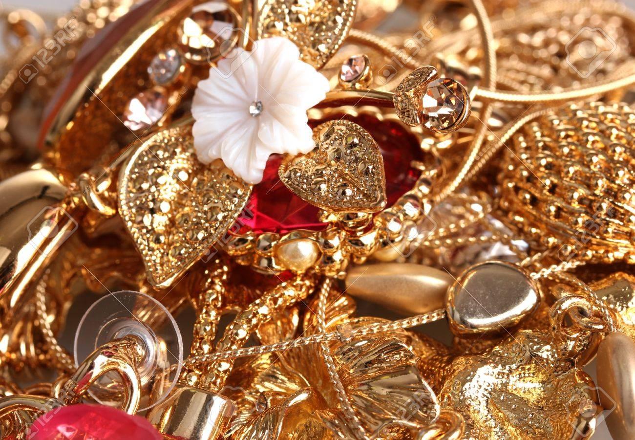 Various gold jewellery closeup Stock Photo - 12312904
