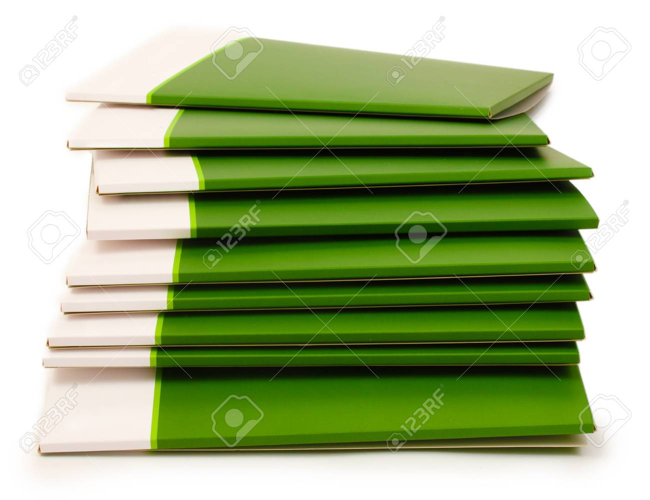Many green folders isolated on white Stock Photo - 12436984