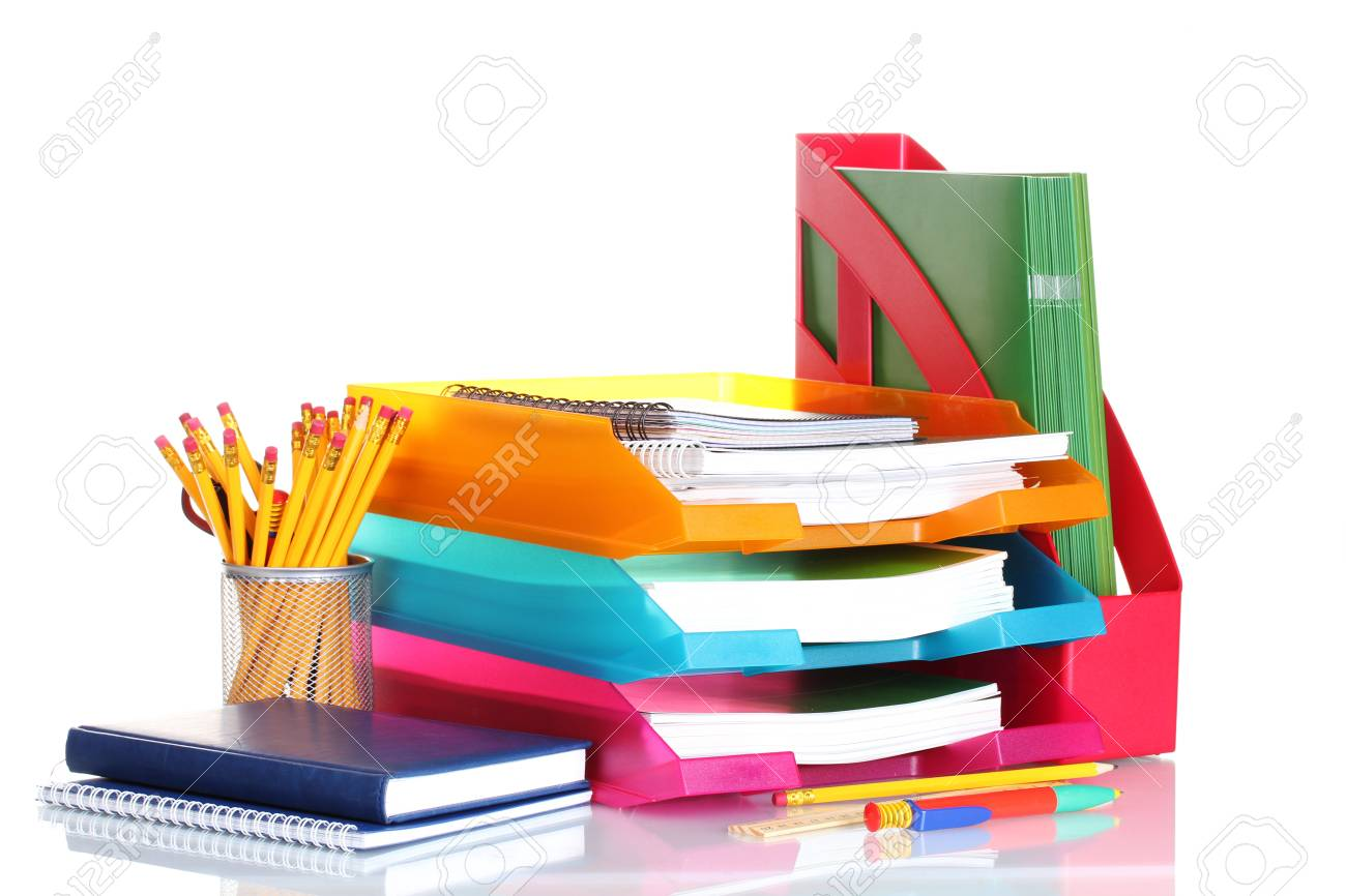 bright paper trays and stationery isolated on white Stock Photo - 12436894